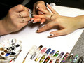 Women's hand painted nails Stock Photography