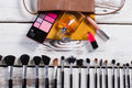 Women's handbag with cosmetics. Royalty Free Stock Photo