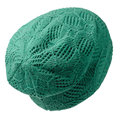 Women`s hat . knitted hat isolated on white background.green ha Royalty Free Stock Photo