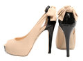Women s high heeled shoes on white Royalty Free Stock Photography