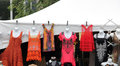 Women s lace tops and dresses for sale at a fair Royalty Free Stock Image