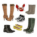 Women's and men's shoes. Warm and rubber boots. Light shoes. Sports shoes. Vector.