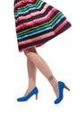 Mujeres vestir y Pie en azul alto Tacones