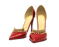 Women s red shoes closeup on a light background Royalty Free Stock Image