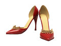 Women s red shoes closeup on a light background Royalty Free Stock Photos