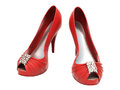 Women s red shoes closeup on a light background Royalty Free Stock Photography