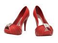 Women s red shoes closeup on a light background Royalty Free Stock Images