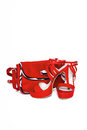 stock image of  Women`s red shoes and handbag