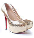 Women's shoes with gold sequins Stock Image
