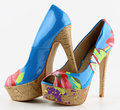 Women s shoes multicolors with high heels Royalty Free Stock Photos