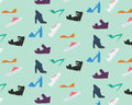 Women s shoes pattern nine types of Stock Photo