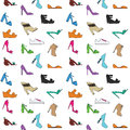 Women s shoes pattern types of hand drawn style background Stock Images