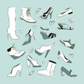 Women s shoes set sketch vector Royalty Free Stock Photo