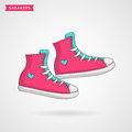 Women`s sneakers. Vector hand drawn illustration.