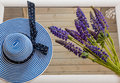 female, vacation,blue lupine flowers on a wooden background Royalty Free Stock Photo