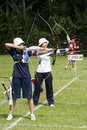 Women's Team Archery Action Royalty Free Stock Photo