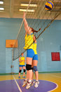 Women s volleyball match between the amateur teams lightning impulse dnepropetrovsk city ukraine february Royalty Free Stock Photography