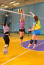 Women s volleyball match between the amateur teams lightning impulse dnepropetrovsk city ukraine february Stock Photo