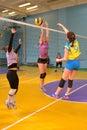 Women s volleyball match between the amateur teams lightning impulse dnepropetrovsk city ukraine february Stock Photo