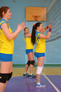 Women s volleyball match between the amateur teams lightning impulse dnepropetrovsk city ukraine february Stock Photos
