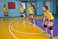 Women s volleyball match between the amateur teams lightning impulse dnepropetrovsk city ukraine february Royalty Free Stock Images