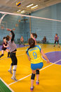 Women s volleyball match between the amateur teams lightning impulse dnepropetrovsk city ukraine february Royalty Free Stock Photo
