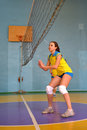 Women s volleyball match between the amateur teams lightning impulse dnepropetrovsk city ukraine february Stock Photography