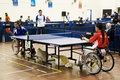 Women's Wheelchair Table Tennis Action Stock Photos
