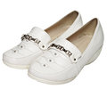 Women's white leather shoes Royalty Free Stock Images