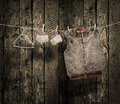 Women s winter clothes on a clothesline Royalty Free Stock Photo