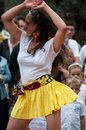Women salsa dancing in the street on main place Royalty Free Stock Photo