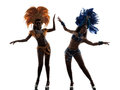 Women samba dancer silhouette two dancing on white background Royalty Free Stock Photo