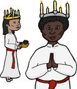Women in sankta lucia costume asian and african for swedish holiday Stock Photography