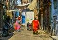 Women in saree walking on street