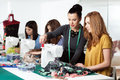 Women in a sewing workshop group of Royalty Free Stock Photography