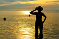 Women shape sexy silhouette with bikini Royalty Free Stock Photo