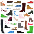 Women shoes collection of various types female footwear vector illustration isolated fashion and leather Royalty Free Stock Photo