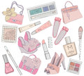 Women shoes, makeup and bags element set. Stock Photos