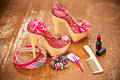 Women shoes pink women s accessories photo on vintage board Royalty Free Stock Photography