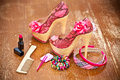 Women shoes pink women s accessories photo on vintage board Royalty Free Stock Photos