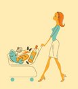 Women with shopping cart illustration in retro style beautiful girl carries a of groceries Stock Images