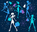Women Shopping Christmas Background Stock Images