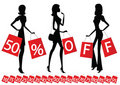 Women shopping with inscription \ Stock Images