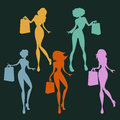 Women shopping set several young with bags in hand Royalty Free Stock Photo