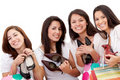 Women shopping for shoes Stock Images