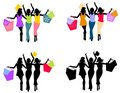 Women Shopping Silhouettes 2 Royalty Free Stock Images