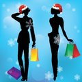 Women on shopping silhouettes of engaged in a winter background Stock Photos