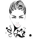 Women short hair style icon, logo women on white background