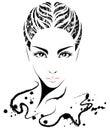 Women short hair style icon, logo women on white background