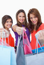 Women showing their purchases Royalty Free Stock Images